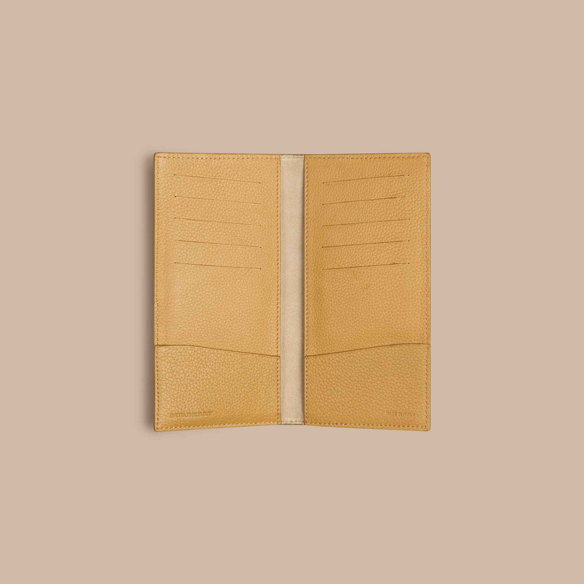 Grainy Leather Travel Card Case in Ochre Yellow - gallery image 2