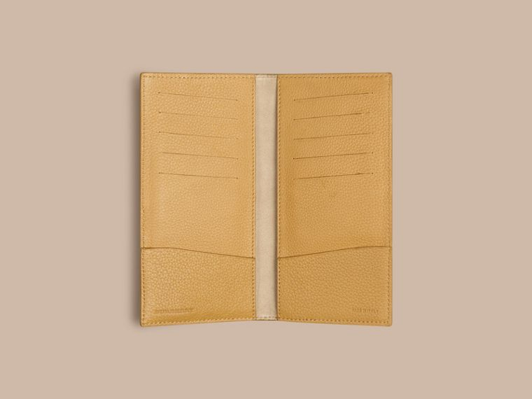 Grainy Leather Travel Card Case in Ochre Yellow | Burberry - cell image 1