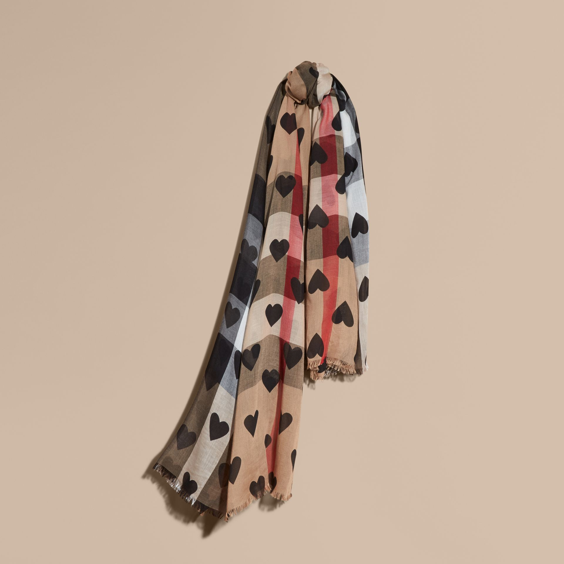 Heart and Check Modal and Cashmere Scarf in Camel/black - gallery image 1