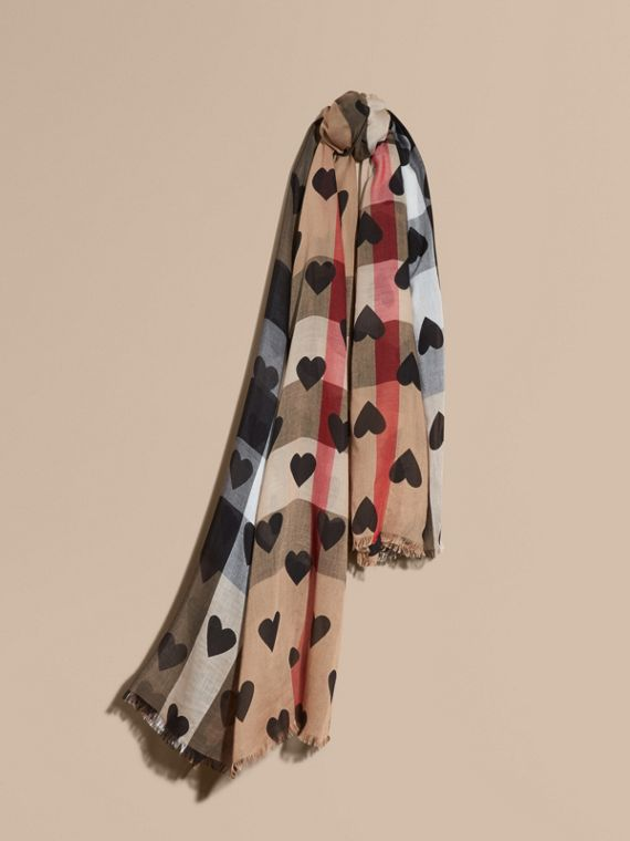 Heart and Check Modal and Cashmere Scarf in Camel/black