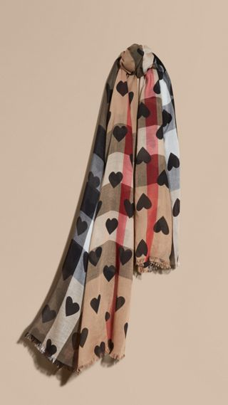 Heart and Check Modal and Cashmere Scarf