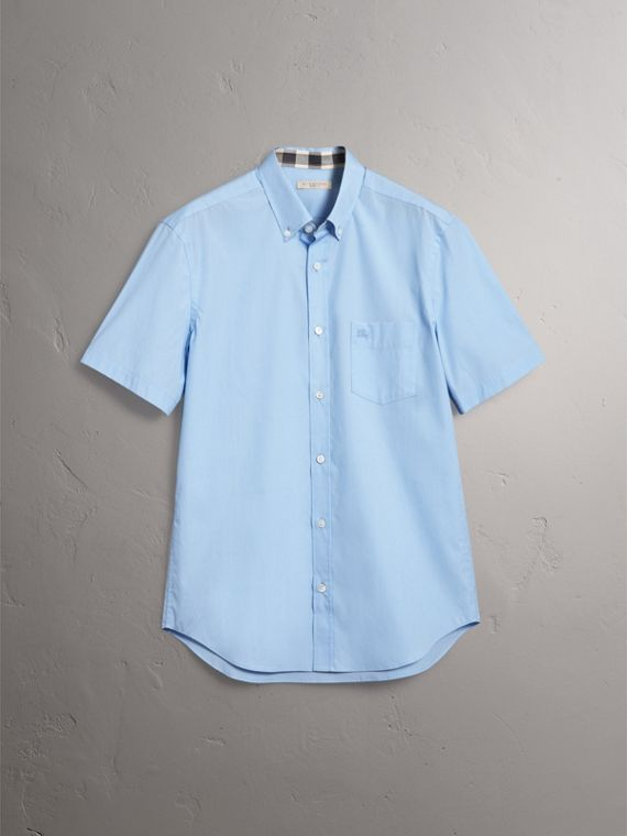 Short-sleeved Stretch Cotton Poplin Shirt in Pale Blue - Men | Burberry - cell image 3