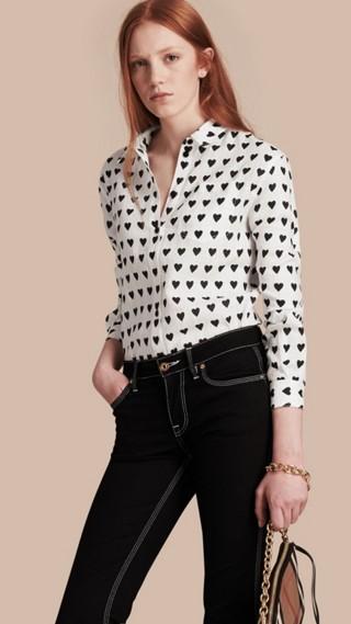 Heart Print Linen Shirt