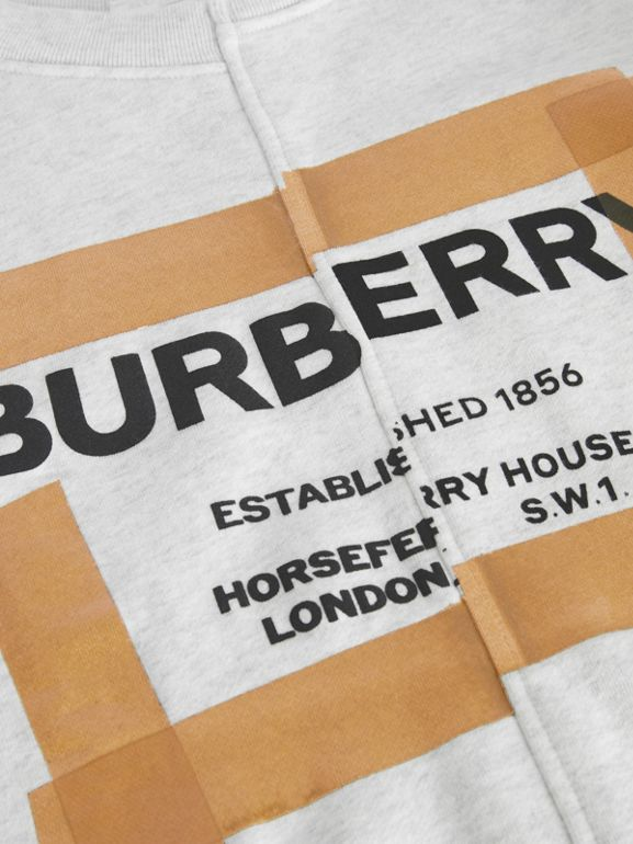 Horseferry Print Cotton Sweatshirt in White Melange | Burberry United States - cell image 1