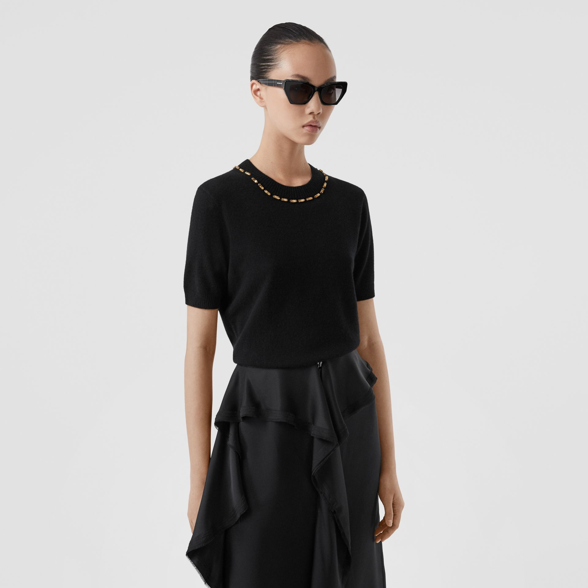 Embellished Cashmere Top in Black - Women | Burberry - gallery image 4