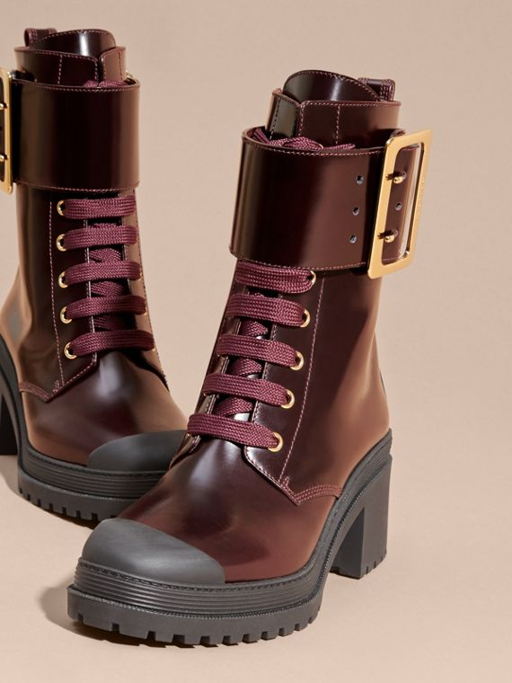 Bordeaux Leather Buckle Detail Boots Bordeaux - cell image 2