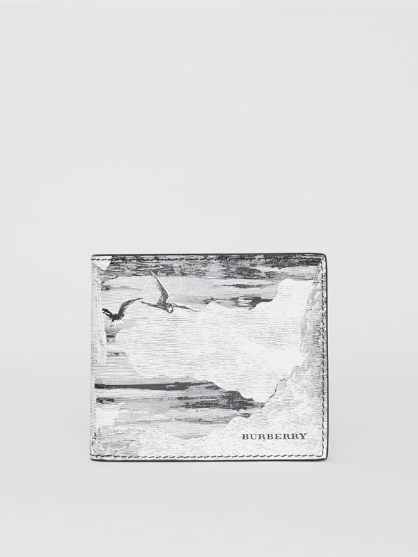 Dreamscape Print Leather International Bifold Wallet in Black/white - Men | Burberry United Kingdom - cell image 2