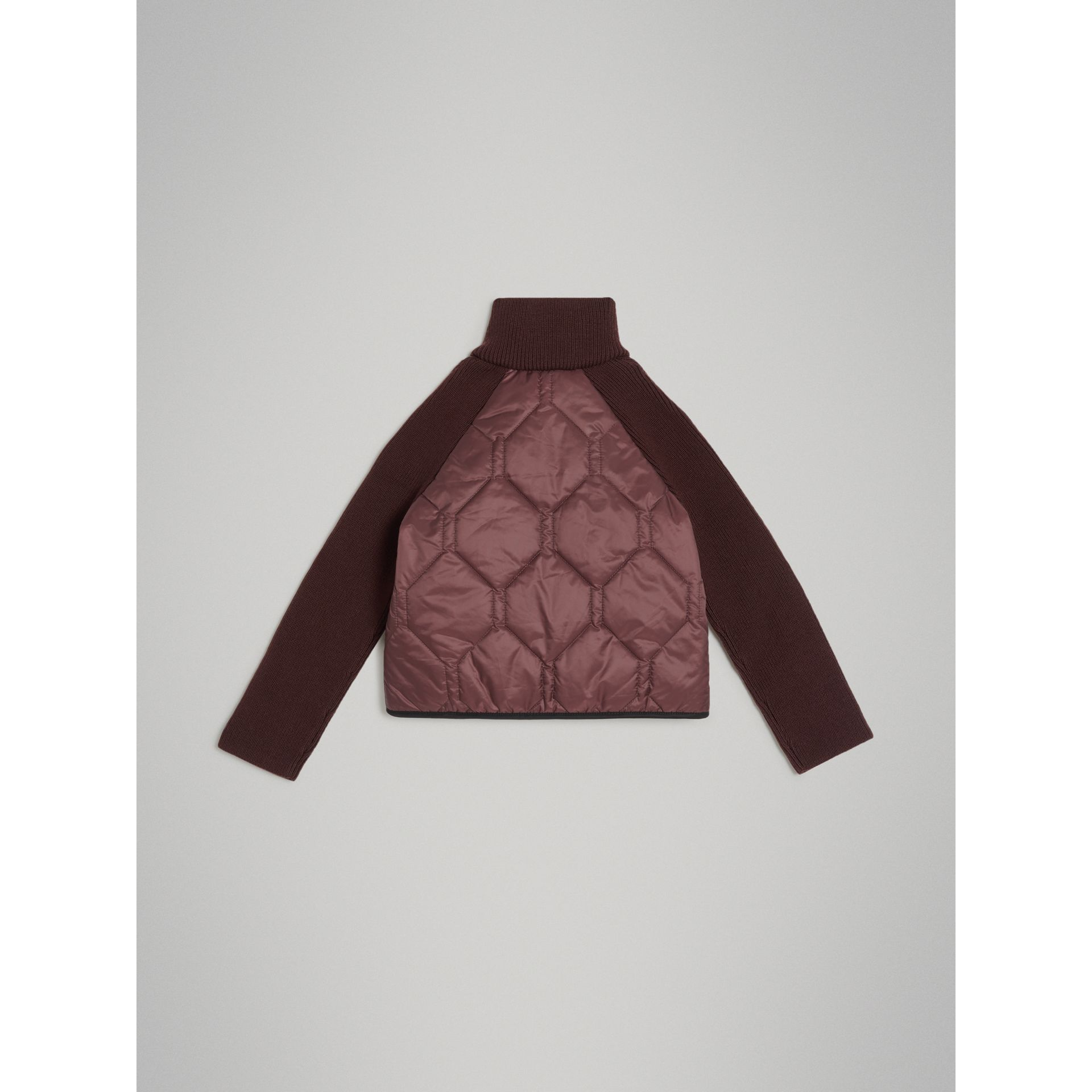 Knitted Sleeve Quilted Jacket in Burgundy | Burberry Australia - gallery image 2