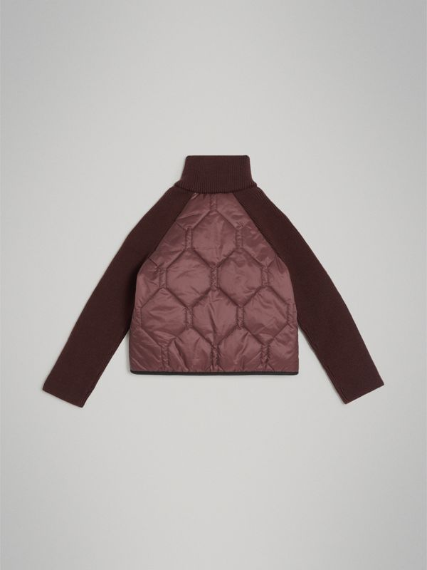 Knitted Sleeve Quilted Jacket in Burgundy | Burberry Australia - cell image 2