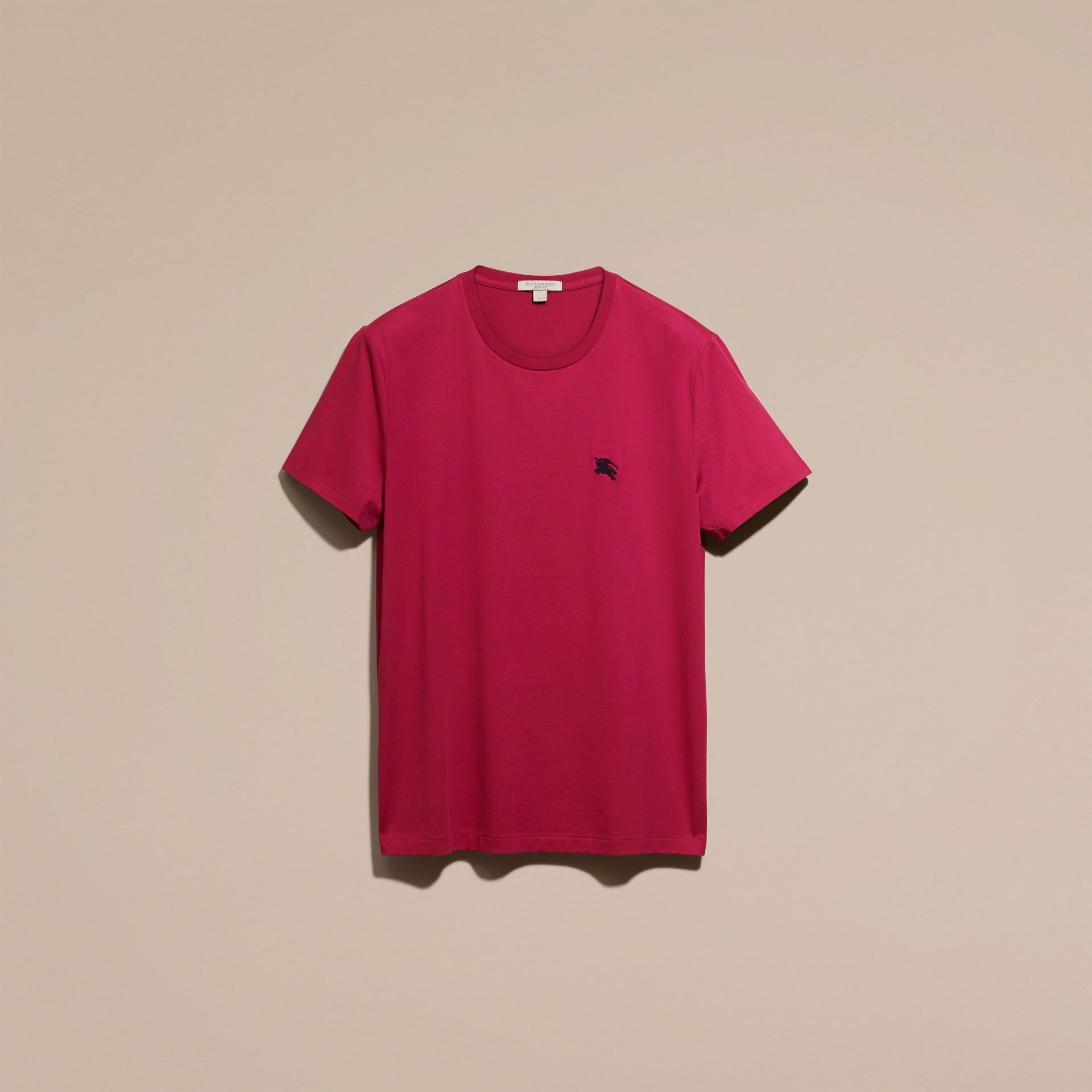 Fucsia acceso T-shirt in cotone morbidissimo Fucsia Acceso - immagine della galleria 4