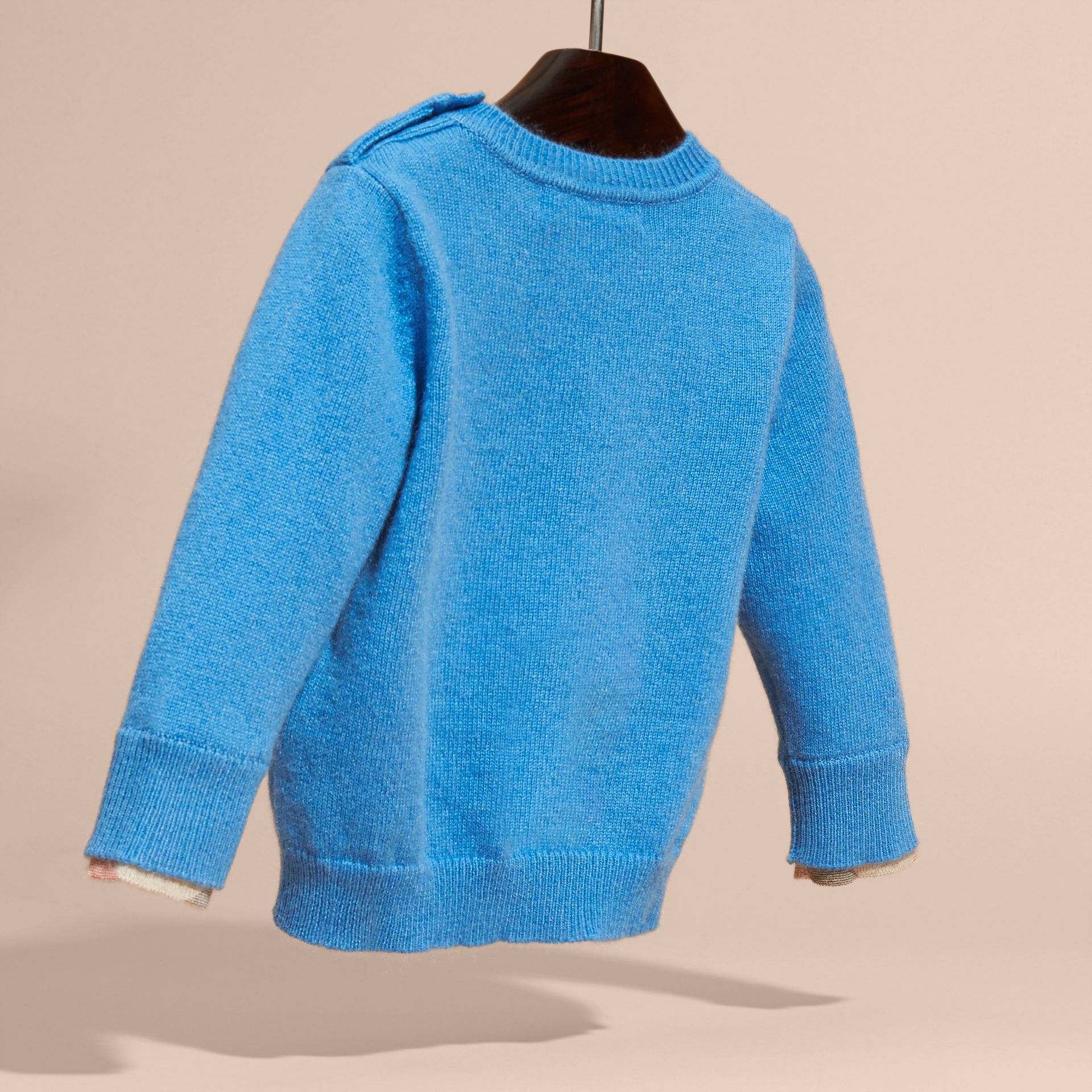 Check Detail Cashmere Sweater Pale Blue - gallery image 4