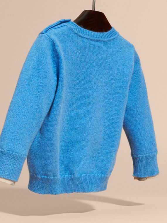 Check Detail Cashmere Sweater in Pale Blue - cell image 3