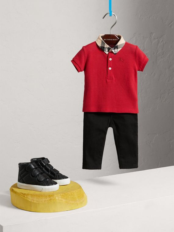 Check Collar Cotton Polo Shirt in Military Red