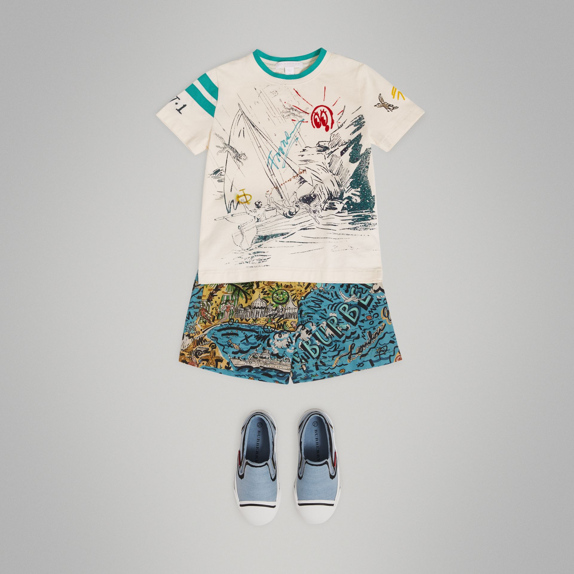 Adventure Motif Cotton T-shirt in White - Boy | Burberry Canada - gallery image 0
