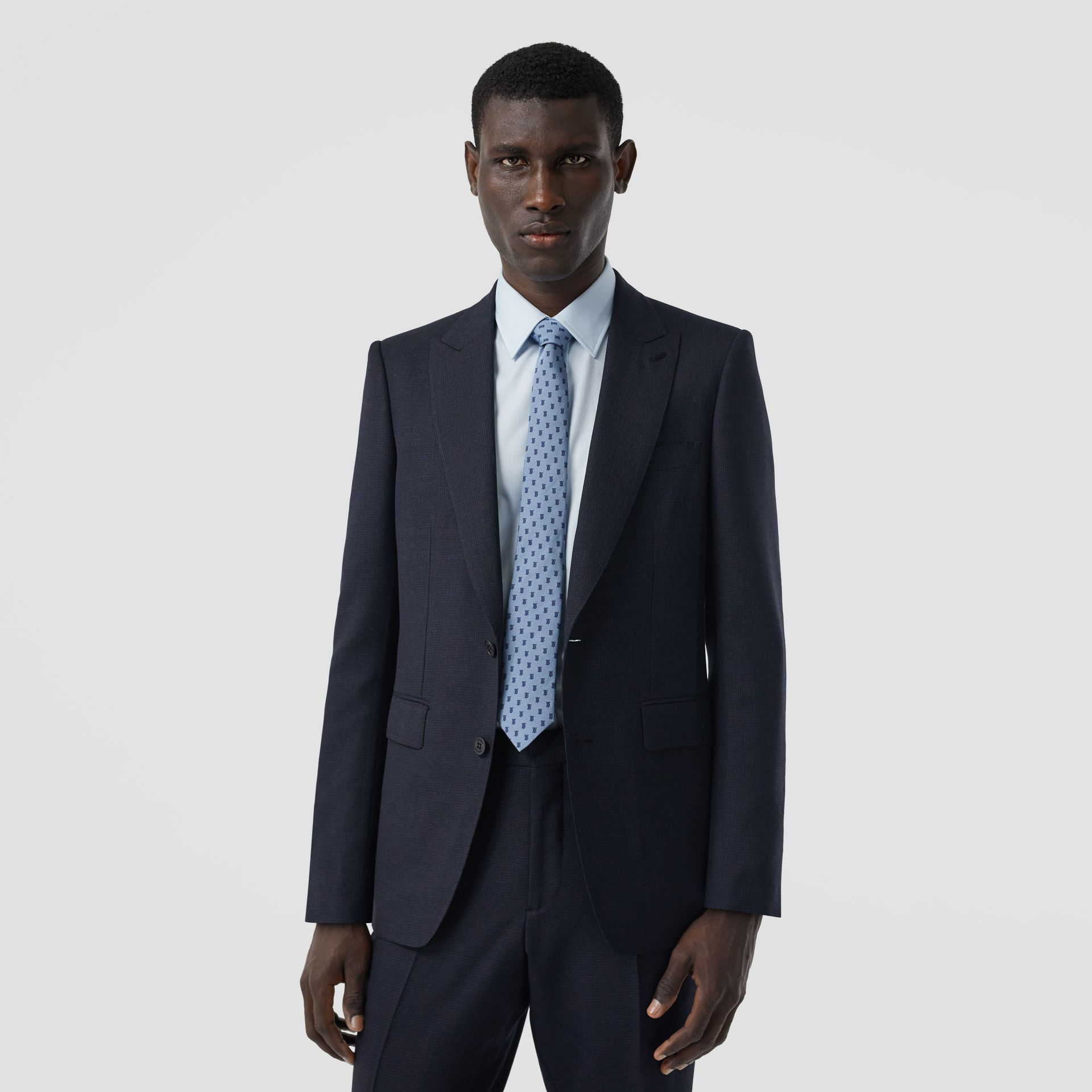 English Fit Puppytooth Check Wool Suit in Dark Navy - Men | Burberry - gallery image 6