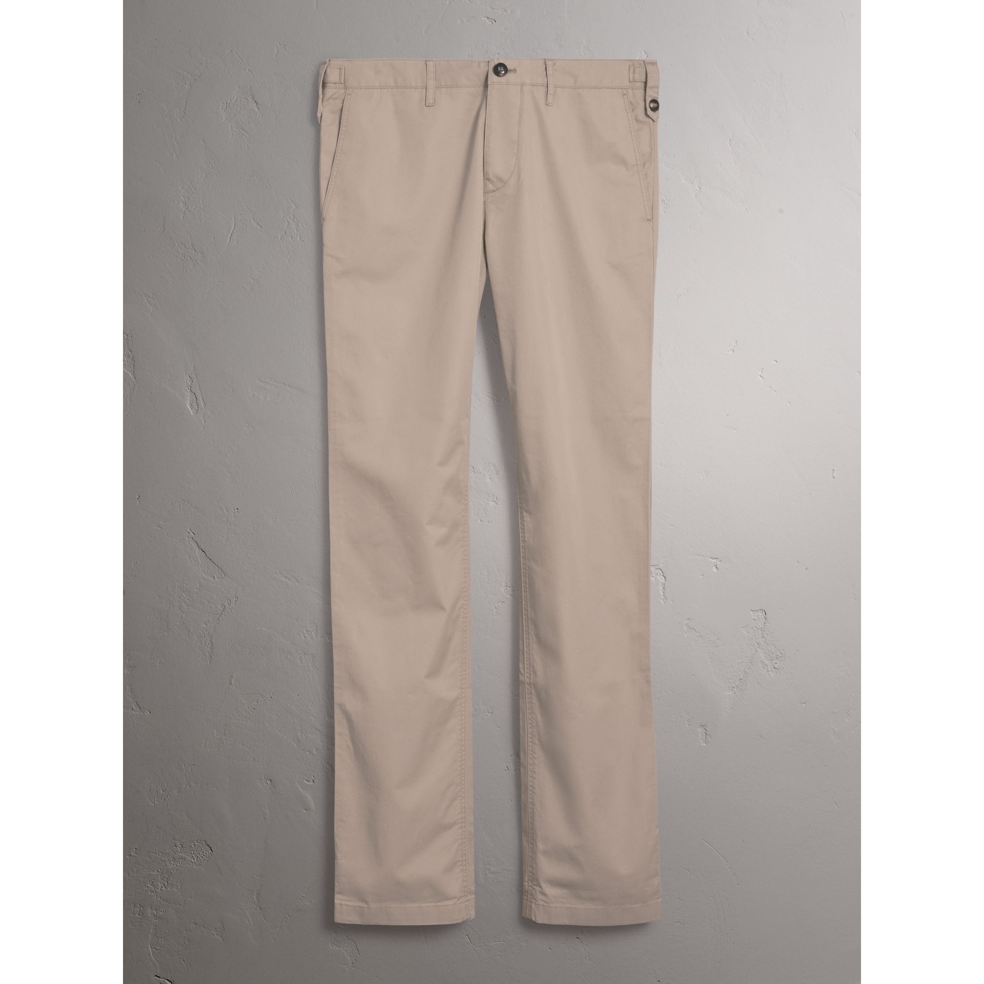 Straight Fit Cotton Chinos in Taupe - Men | Burberry - gallery image 3