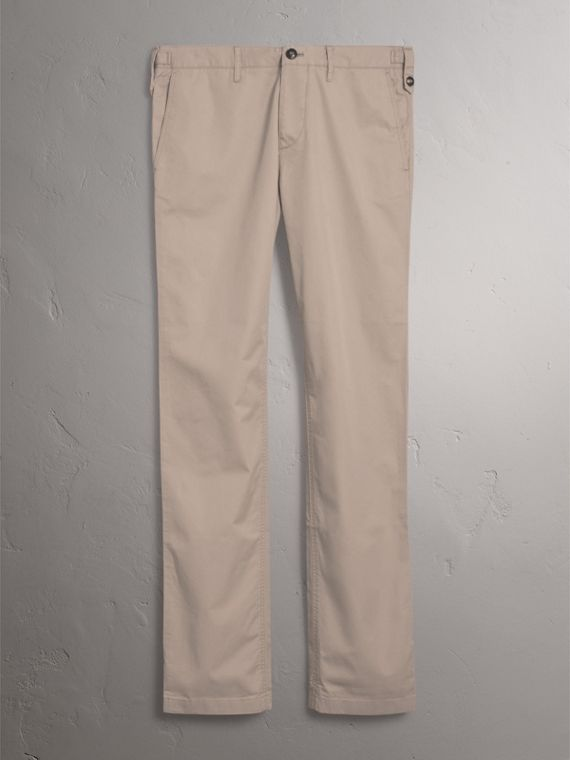 Straight Fit Cotton Chinos in Taupe - Men | Burberry Canada - cell image 3