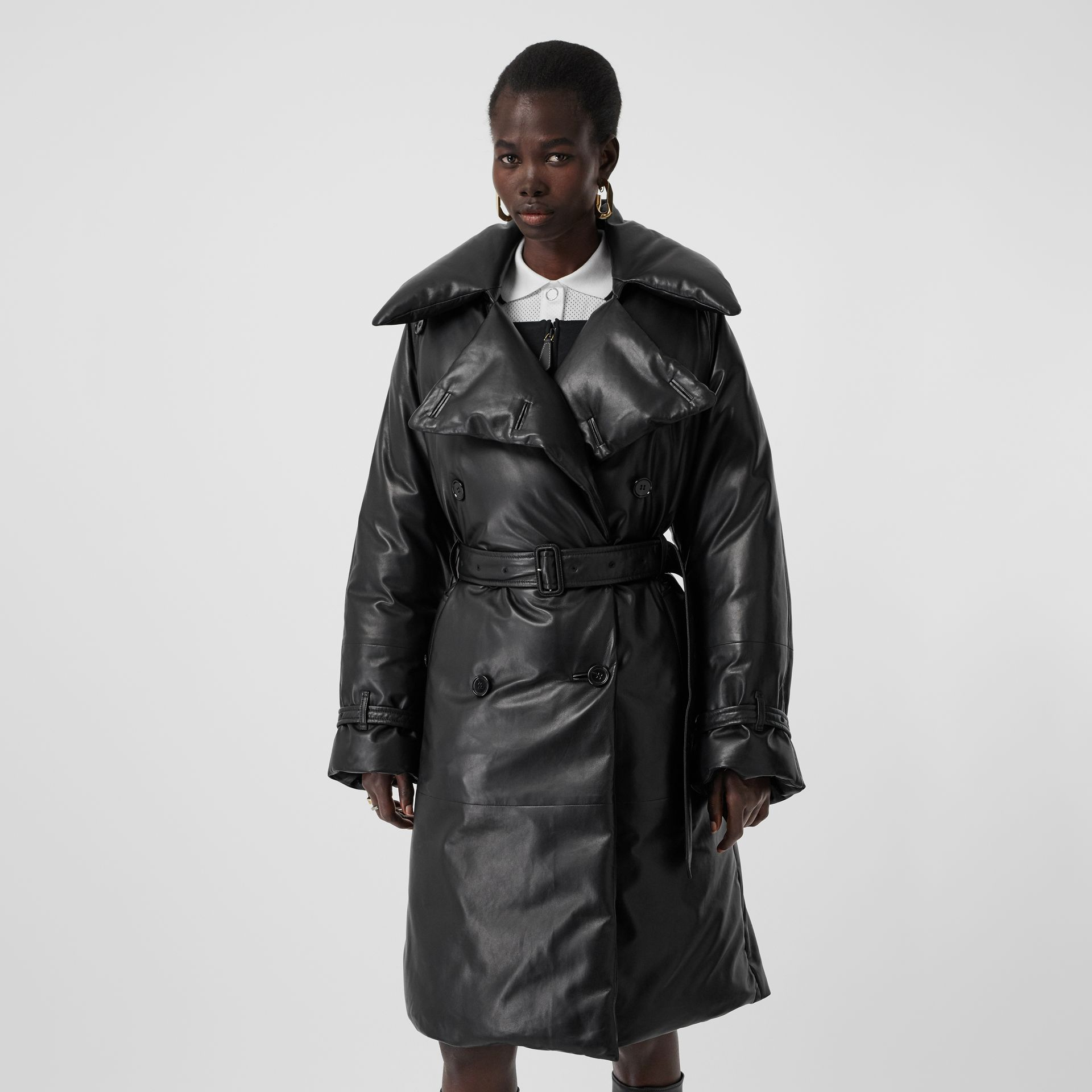 Lambskin Down-filled Oversized Trench Coat in Black - Women | Burberry - gallery image 5