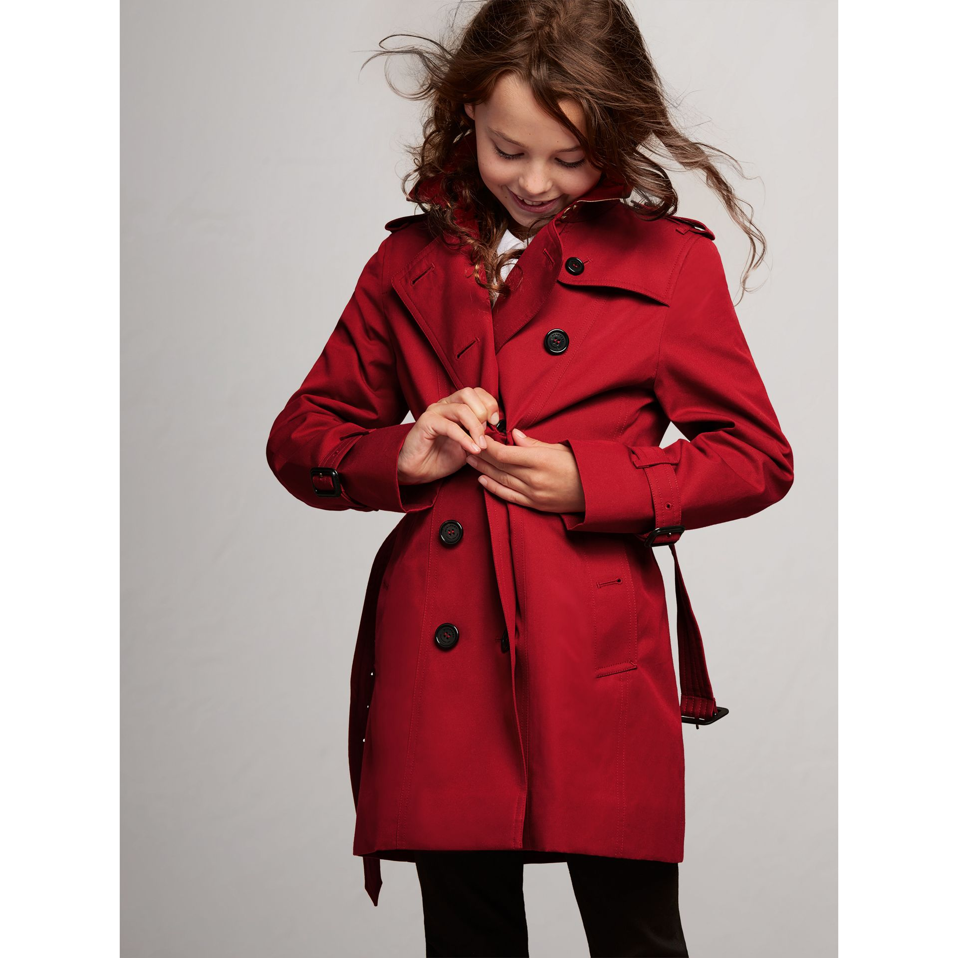 The Sandringham Trench Coat in Parade Red - Girl | Burberry Australia - gallery image 2