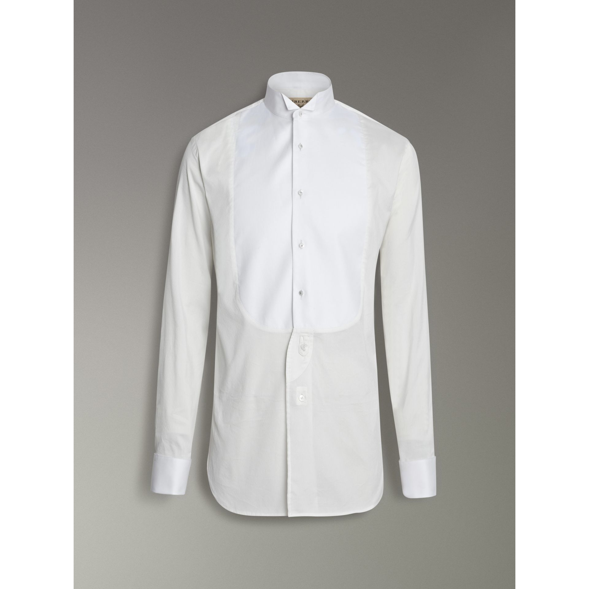 Modern Fit Panelled Bib Cotton Silk Evening Shirt in White - Men | Burberry - gallery image 3