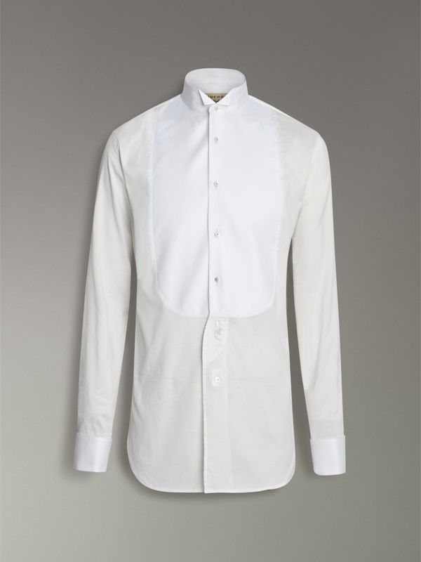 Modern Fit Panelled Bib Cotton Silk Evening Shirt in White - Men | Burberry - cell image 3