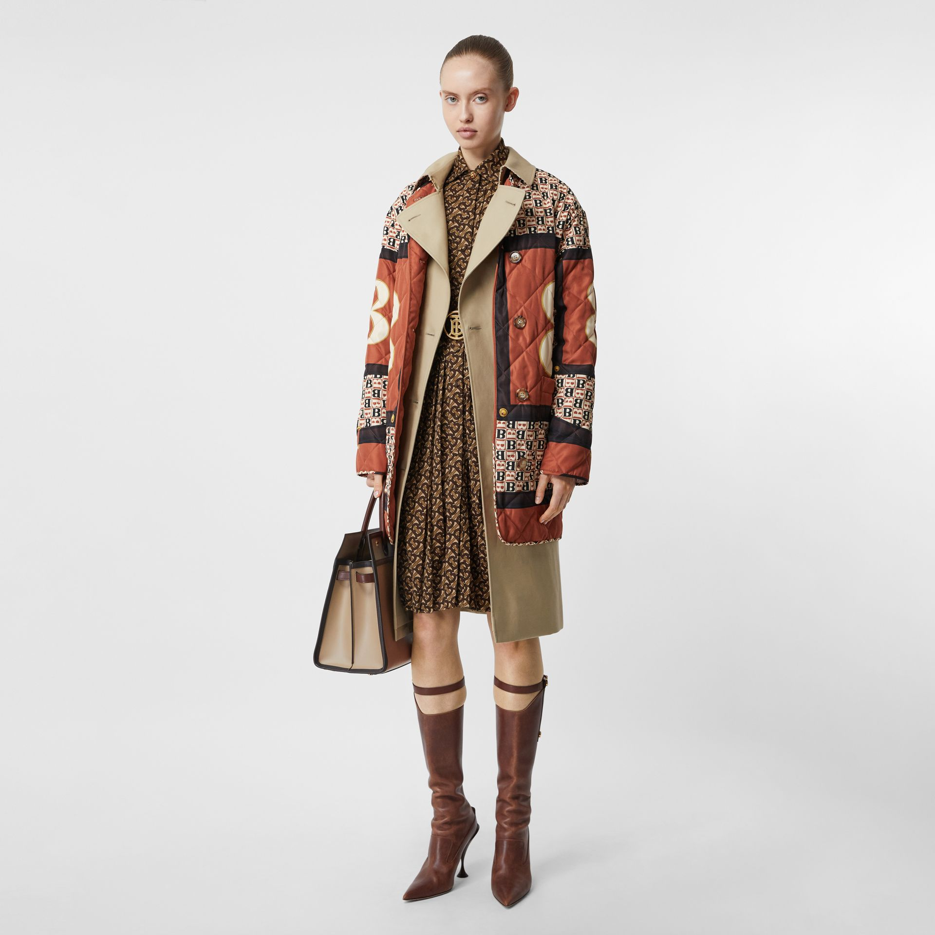 Pleated Monogram Print Jersey Tie-waist Shirt Dress in Bridle Brown - Women | Burberry - gallery image 6