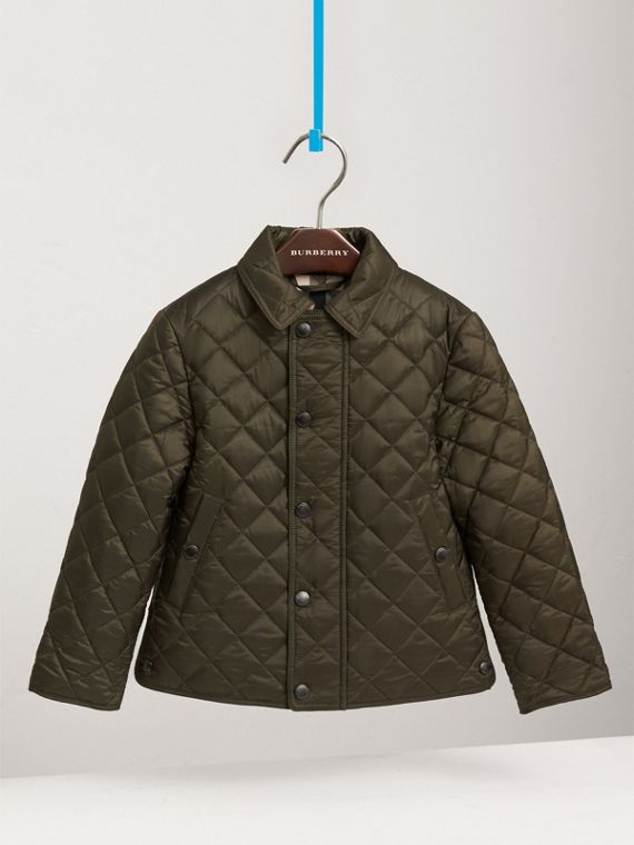 Diamond Quilted Jacket in Olive - Boy | Burberry United States - cell image 2