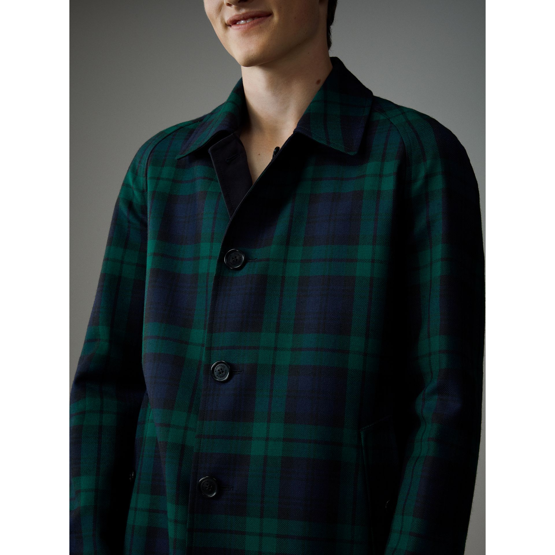 Reversible Tartan Wool and Cotton Gabardine Car Coat in Navy - Men | Burberry - gallery image 7