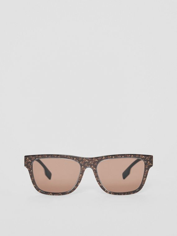 Monogram Stripe Square Frame Sunglasses in Honey