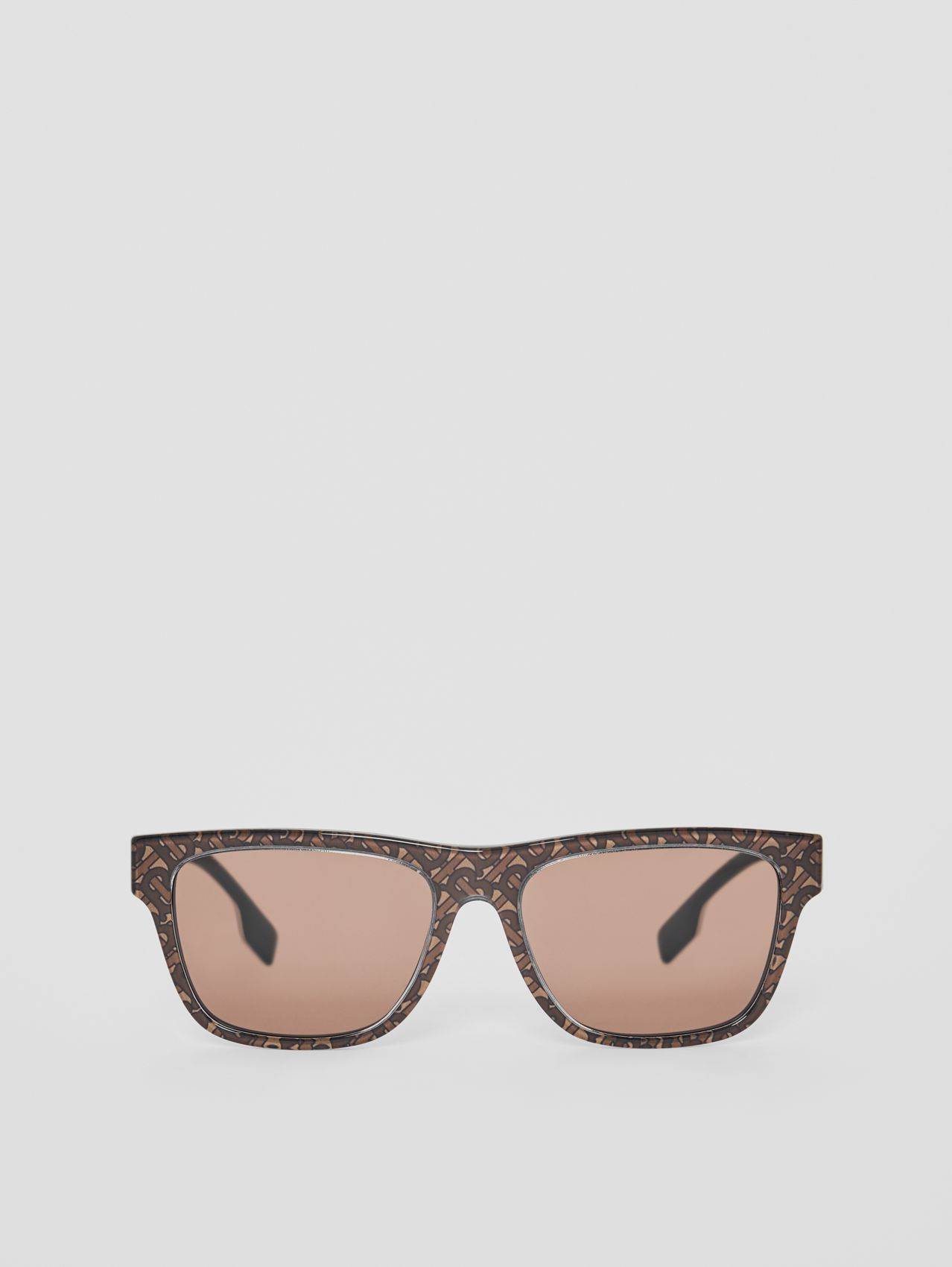 Monogram Stripe Square Frame Sunglasses (Honey)