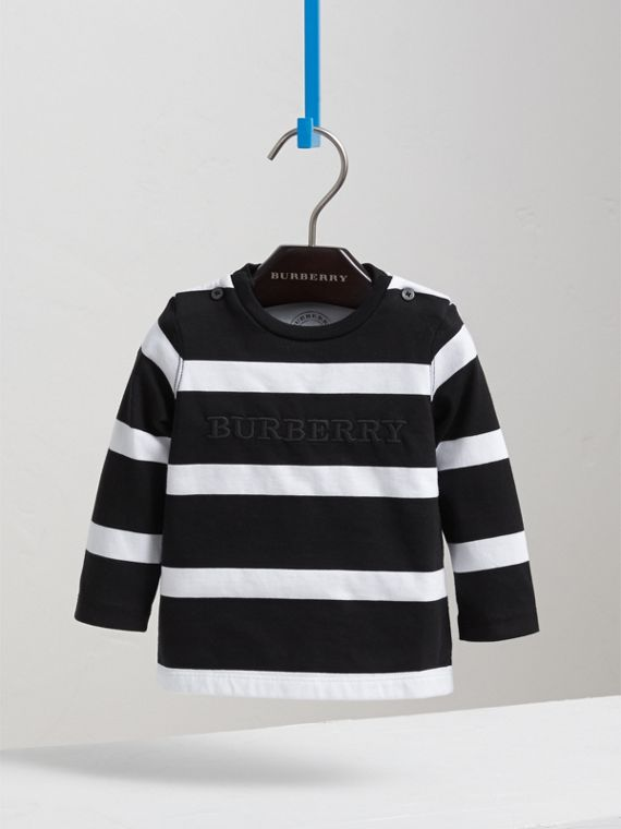 Long-sleeve Striped Cotton Top in Black/white | Burberry Australia - cell image 2