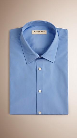 Slim Fit Short-sleeved Cotton Poplin Shirt