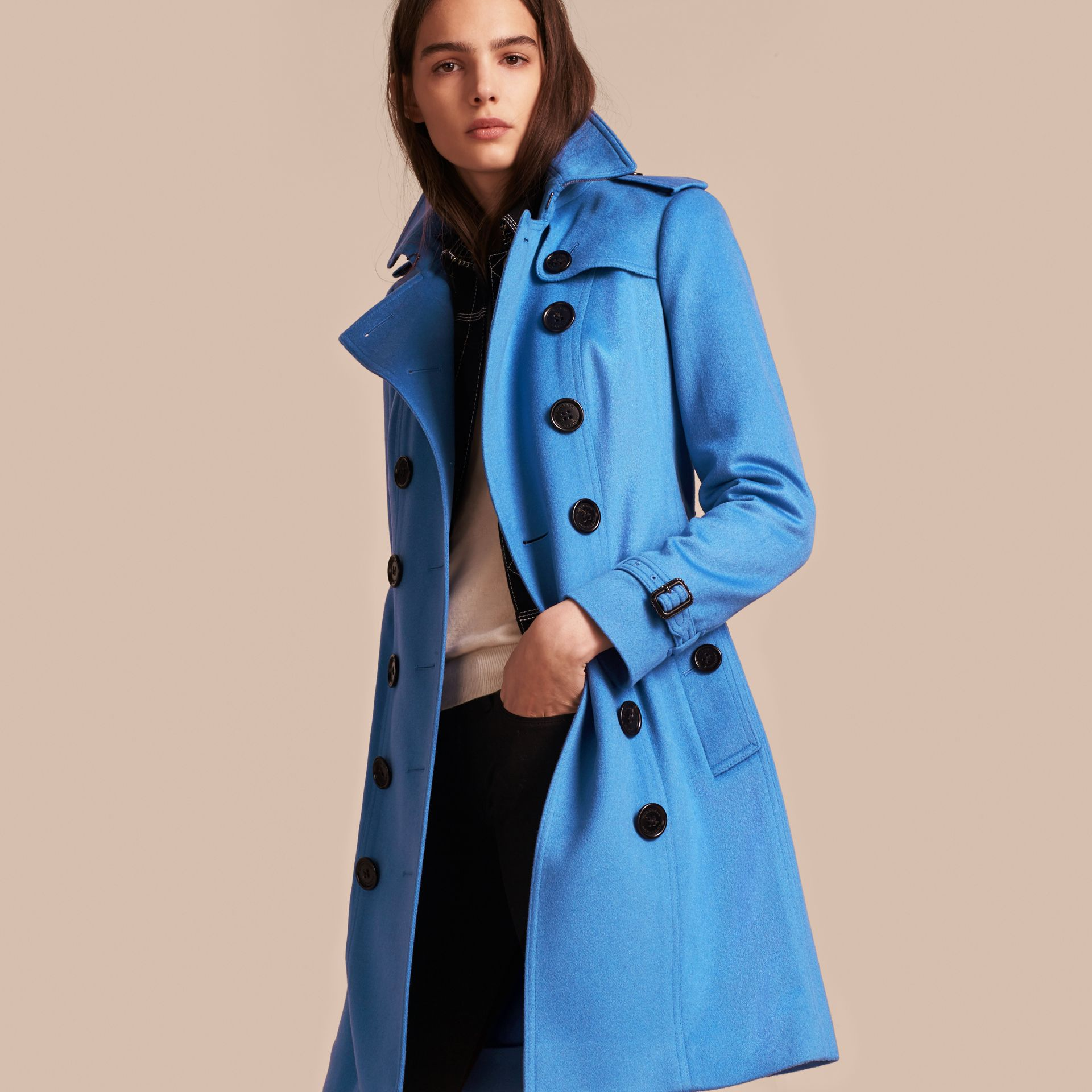 Cornflower Sandringham Fit Cashmere Trench Coat Cornflower - gallery image 7