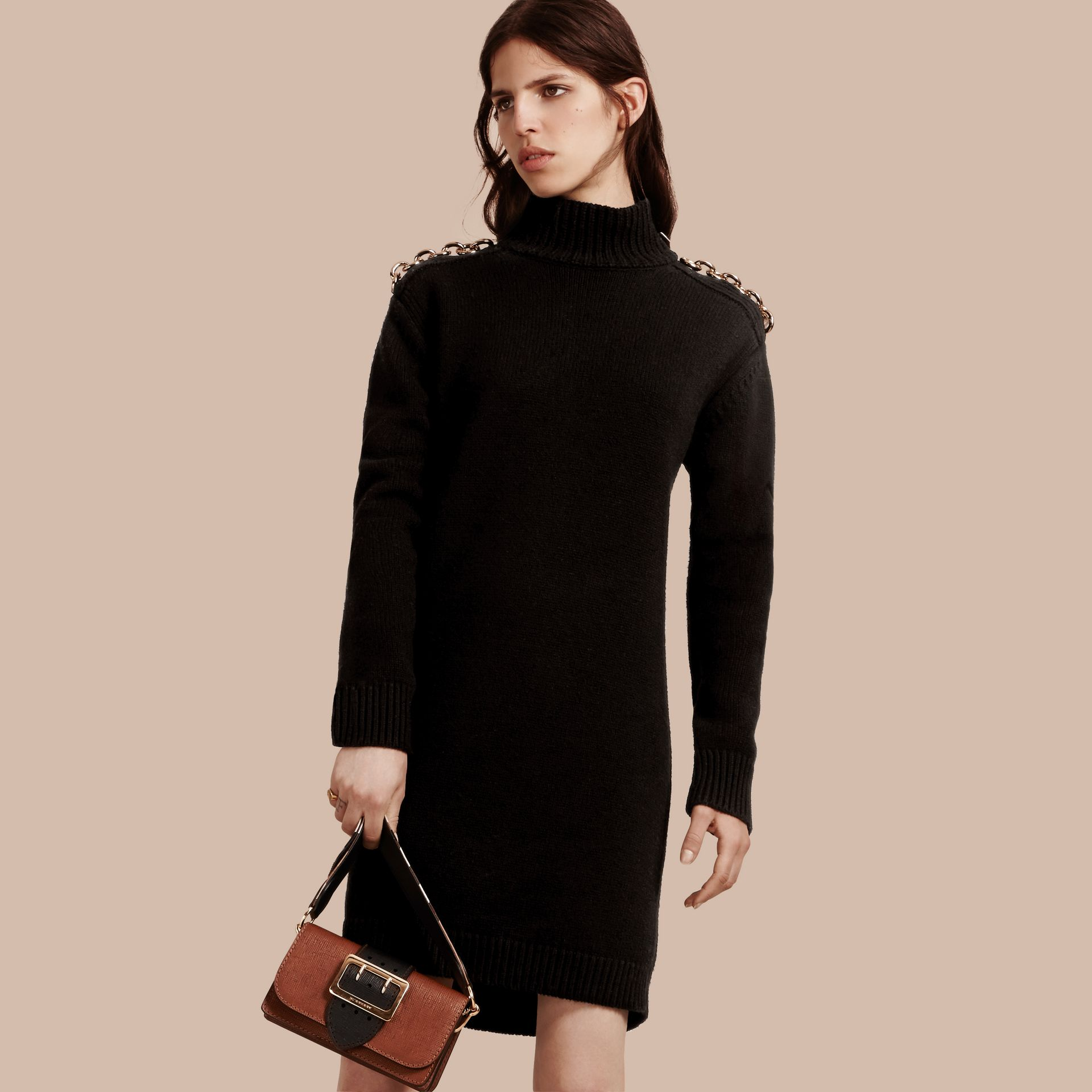 Black Chain Detail Wool Cashmere High-neck Dress - gallery image 1
