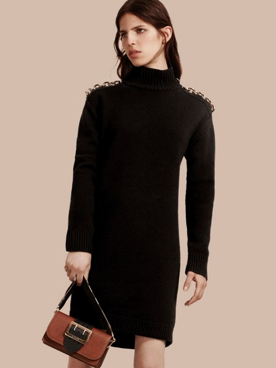 Chain Detail Wool Cashmere High-neck Dress