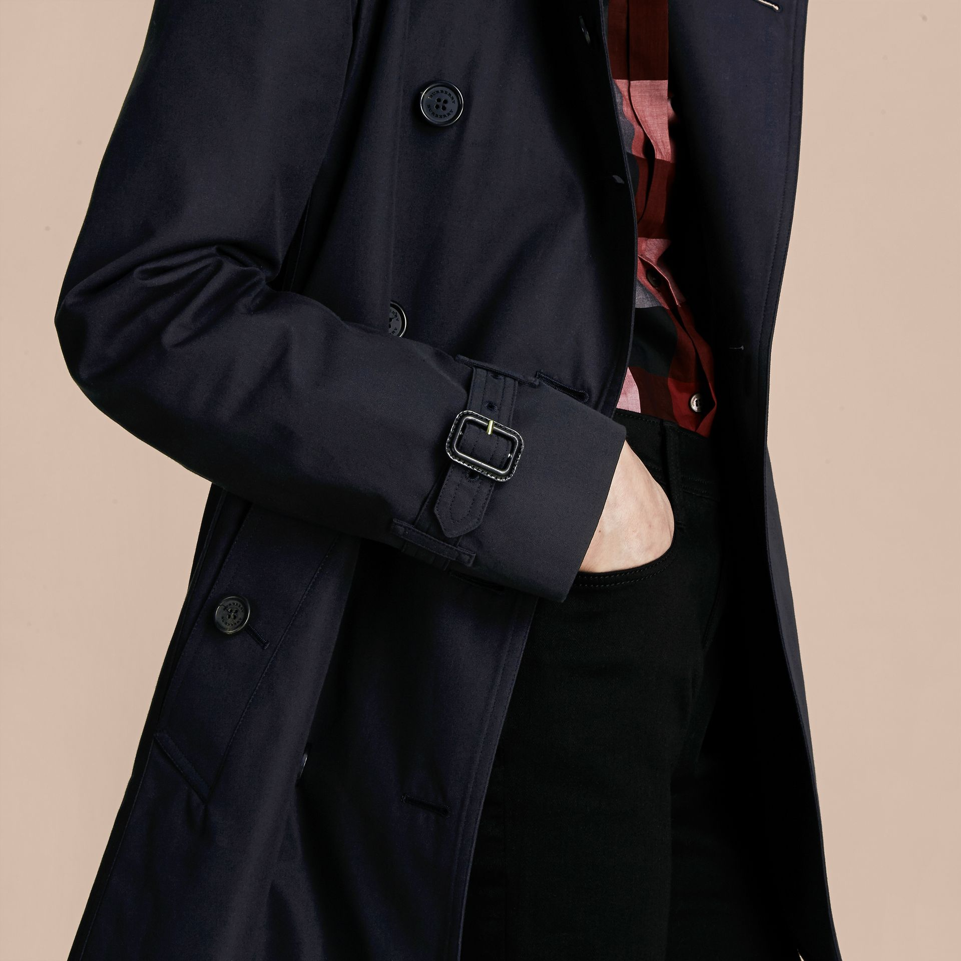 Navy The Kensington – Mid-Length Heritage Trench Coat Navy - gallery image 7