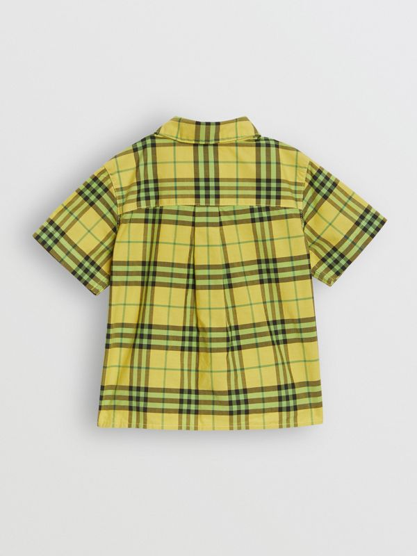 Short-sleeve Check Cotton Shirt in Citron - Children | Burberry United Kingdom - cell image 3