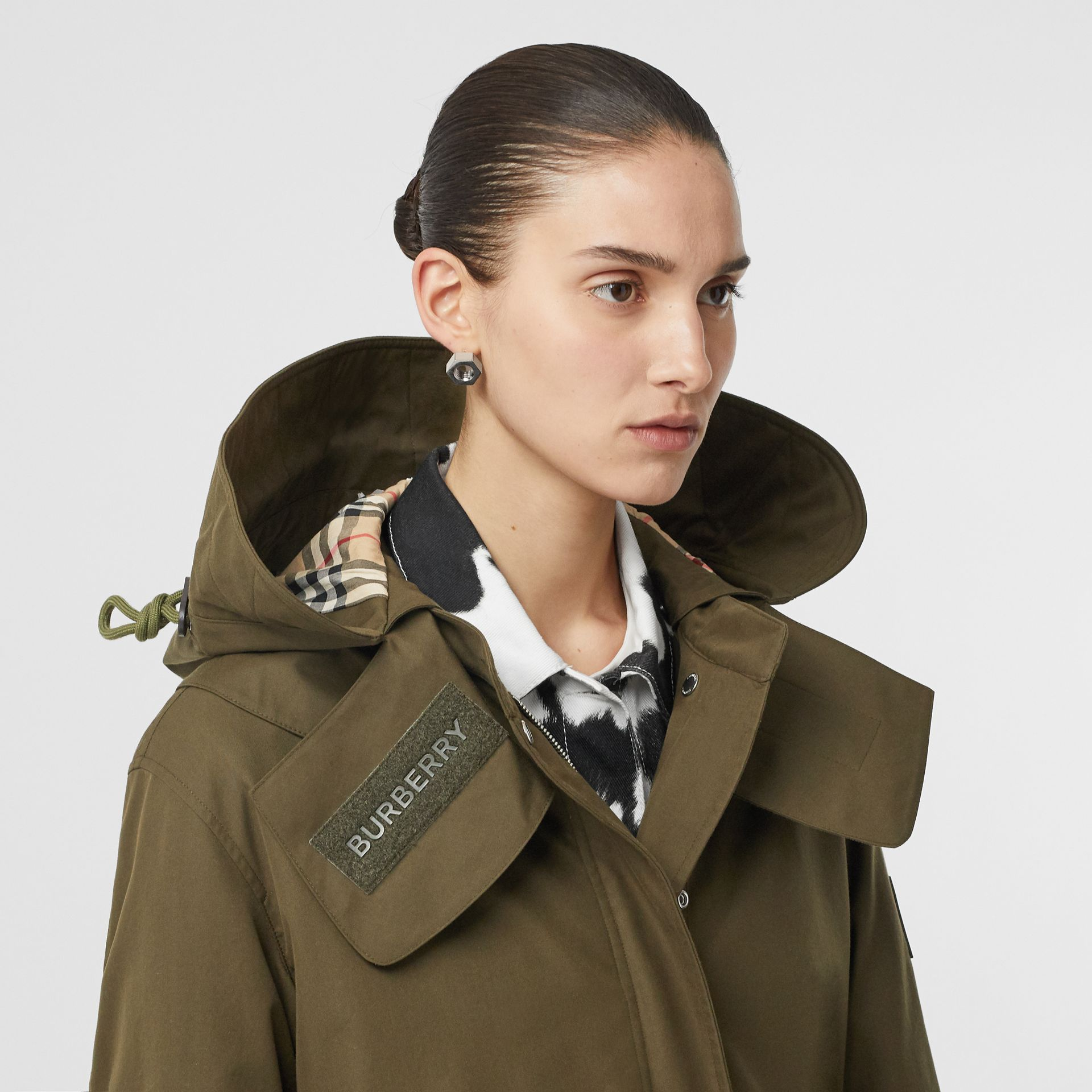 Detachable Hood Cotton Gabardine Parka in Dark Military Khaki - Women | Burberry - gallery image 1
