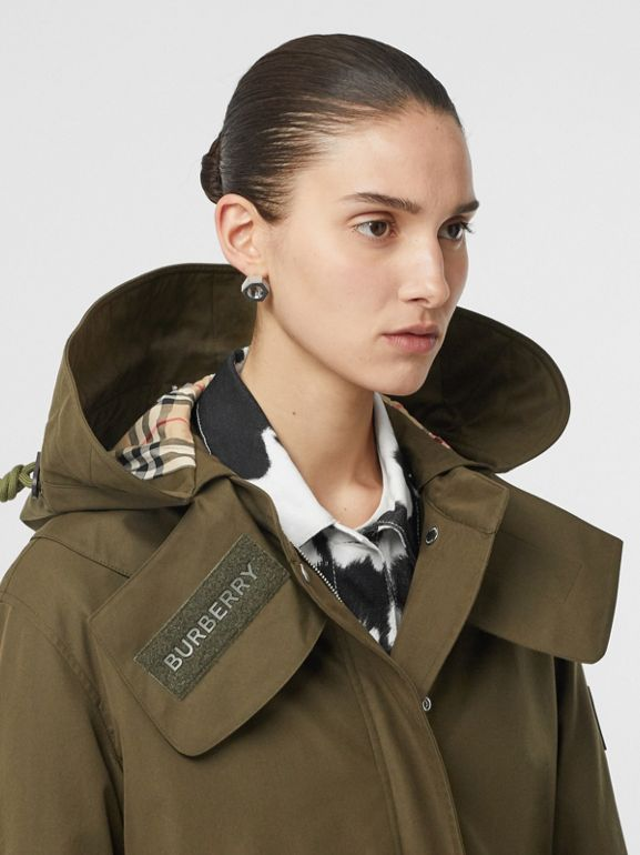 Detachable Hood Cotton Gabardine Parka in Dark Military Khaki - Women | Burberry - cell image 1