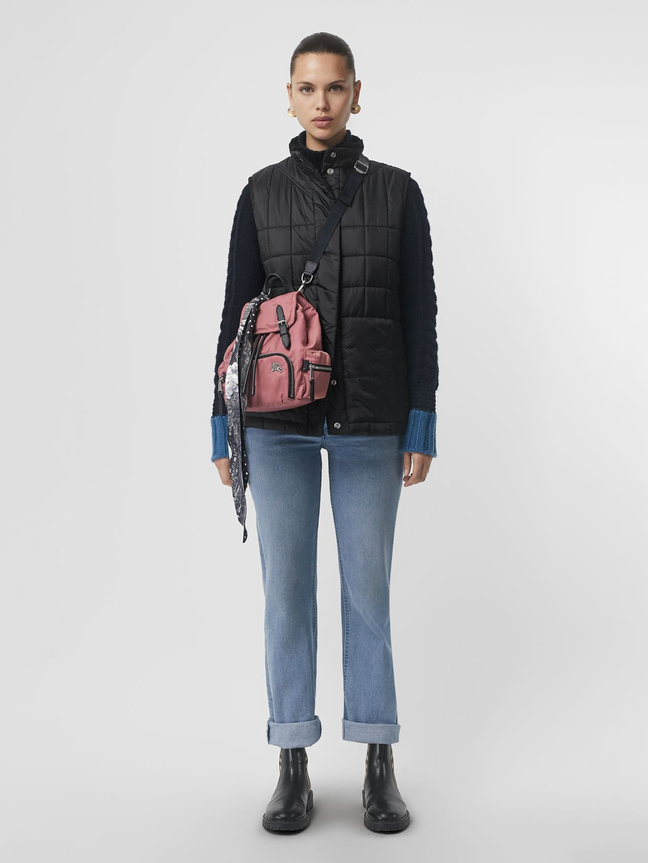 The Small Crossbody Rucksack in Puffer Nylon in Mauve Pink