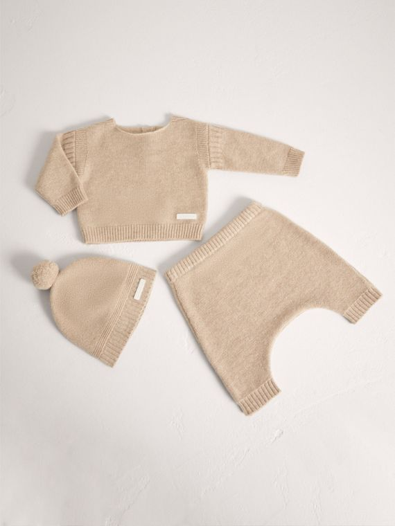 Cashmere Three-piece Baby Gift Set in Oatmeal Melange