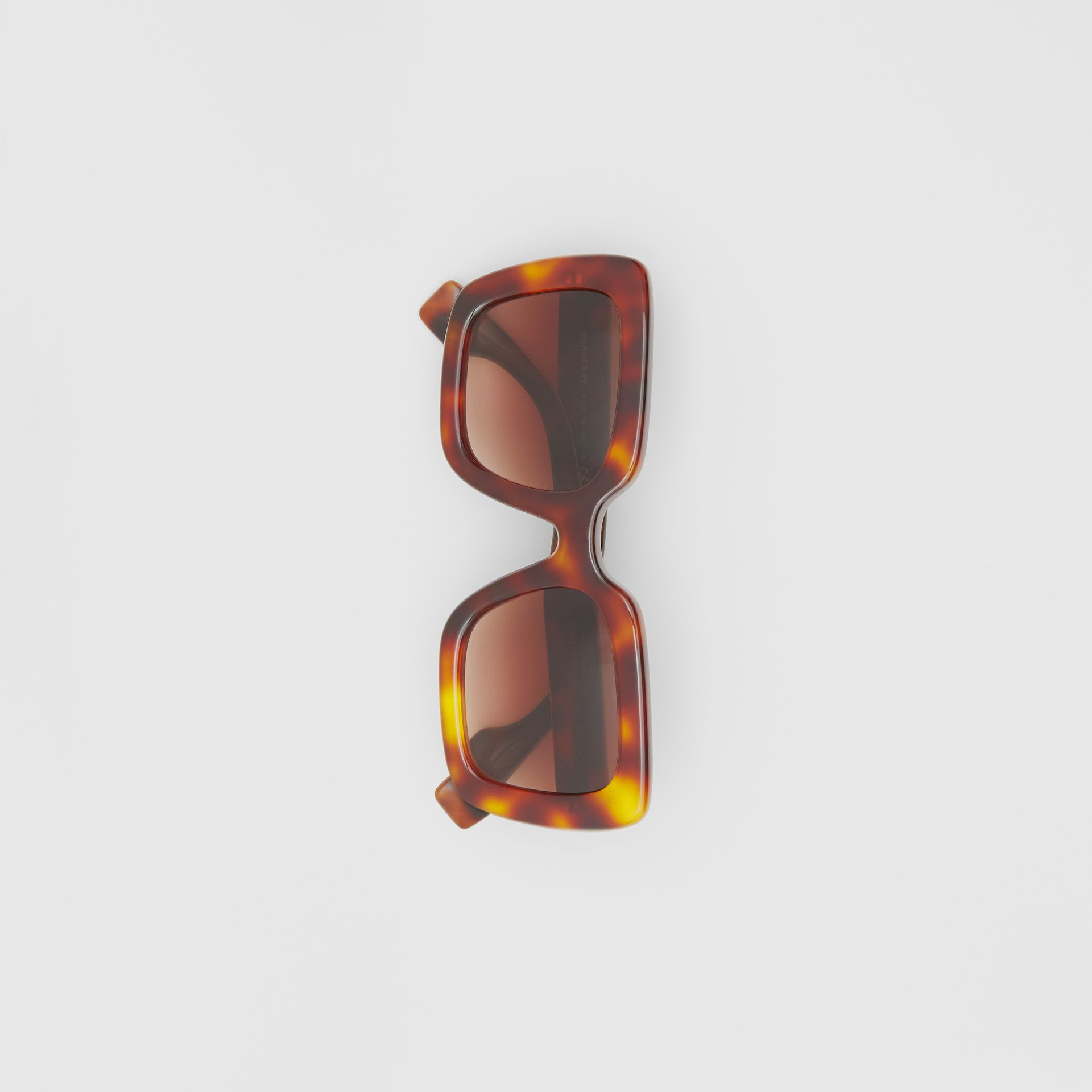 Oversized Square Frame Sunglasses in Tortoiseshell - Women | Burberry United States - gallery image 2