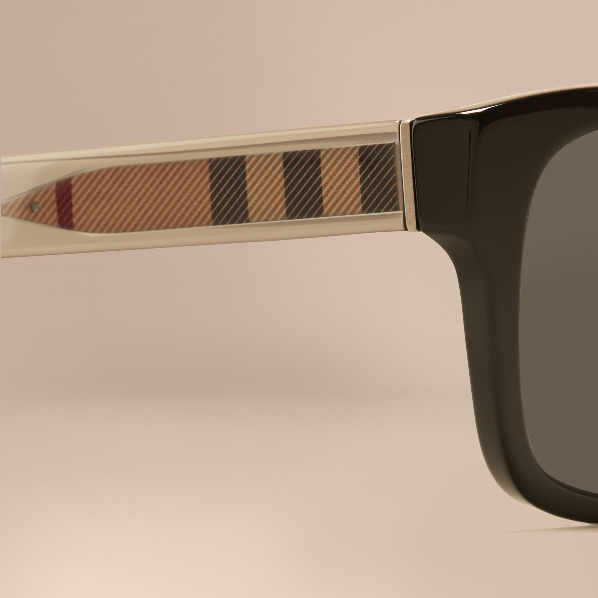 Black Check Detail Square Frame Sunglasses Black - gallery image 2