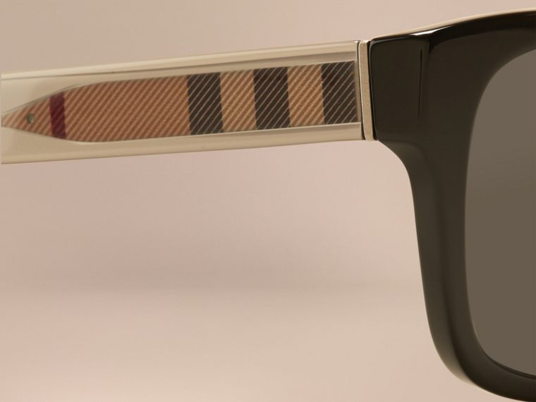 Black Check Detail Square Frame Sunglasses Black - cell image 1