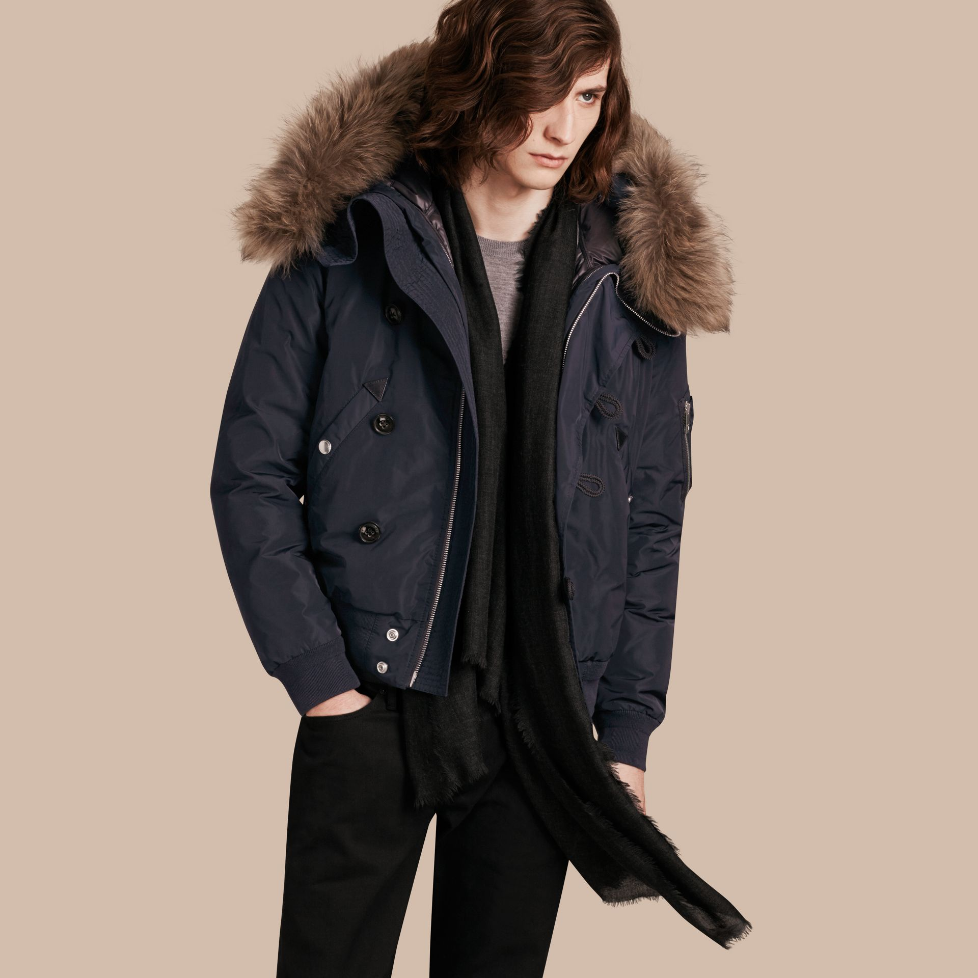 Ink Two-in-One Jacket with Raccoon-trimmed Hood - gallery image 1