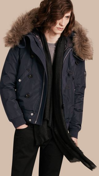 Two-in-One Jacket with Raccoon-trimmed Hood