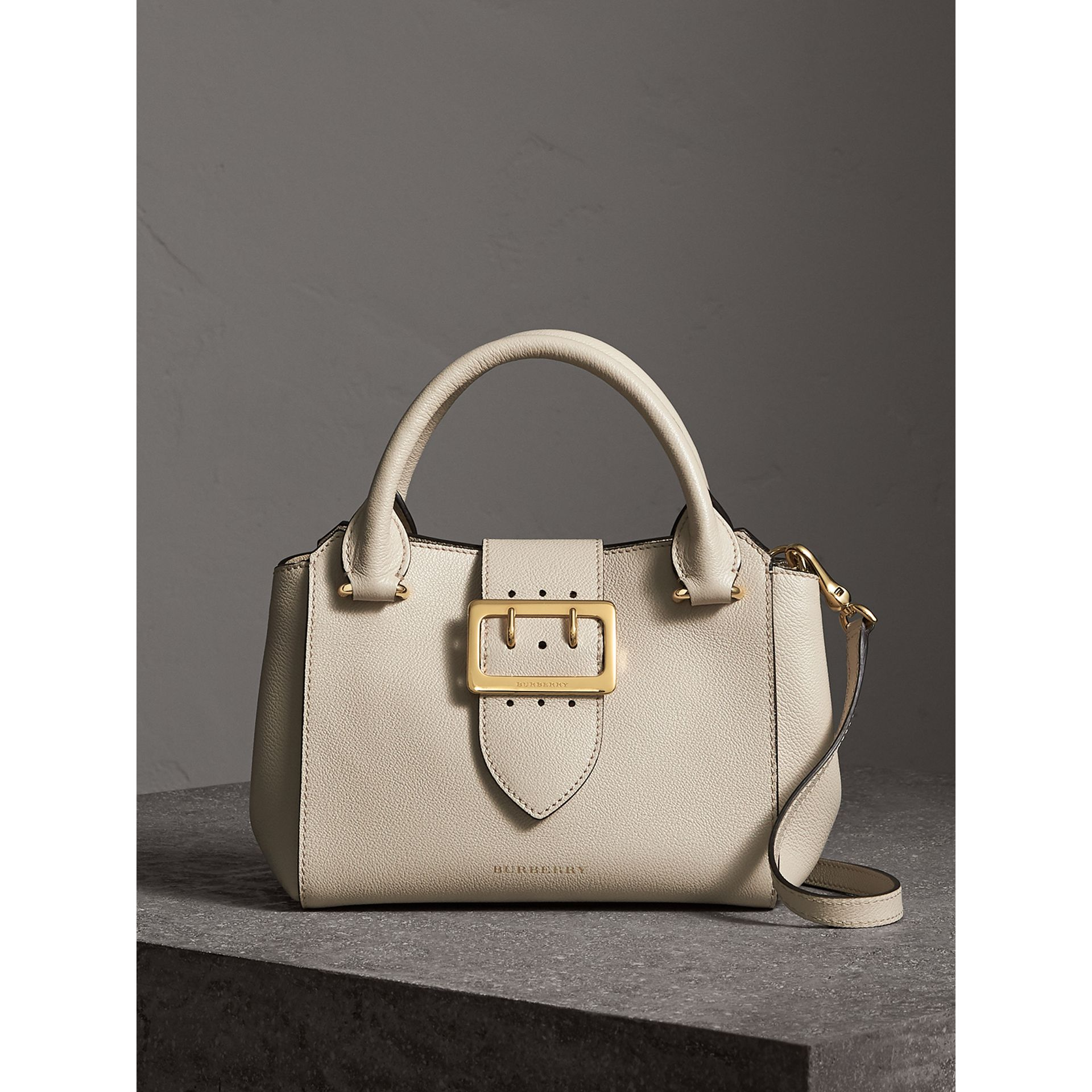The Small Buckle Tote in Grainy Leather in Limestone - Women | Burberry - gallery image 1