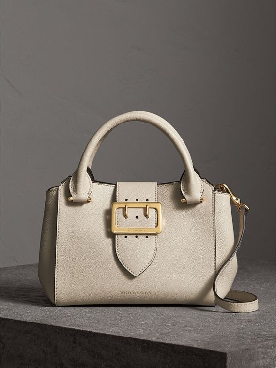 The Small Buckle Tote in Grainy Leather in Limestone