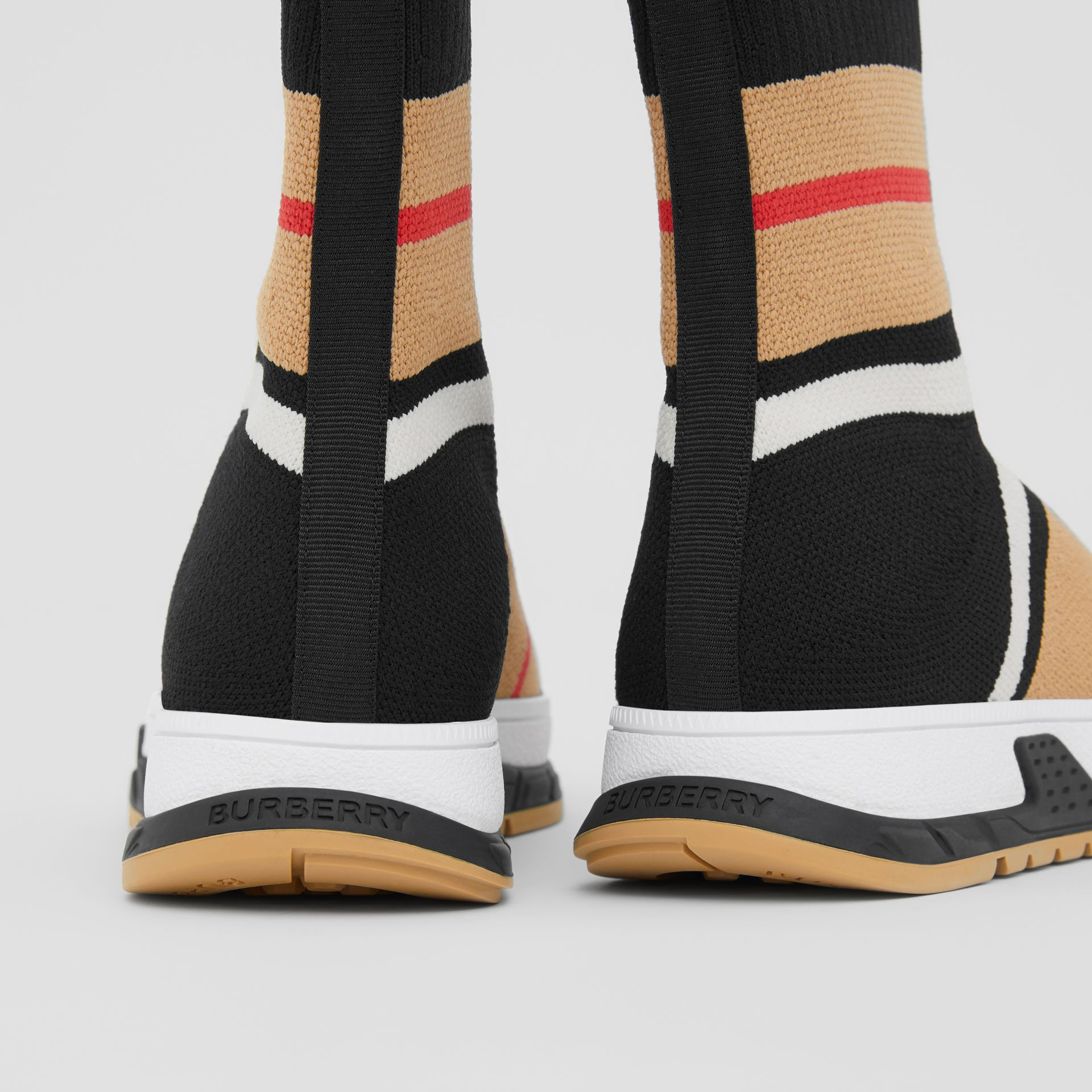 Striped Stretch Knit Sock Sneakers in Black - Children | Burberry United States - gallery image 1