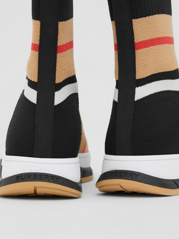 Striped Stretch Knit Sock Sneakers in Black - Children | Burberry - cell image 1